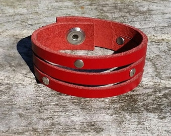 Red leather bracelet, studded leather cuff