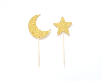 Moon & Star Cupcake Toppers Picks Any Color Glitter Baby Shower Decor Set of 12