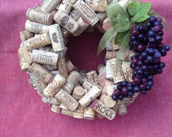 Wine Cork Wreath with Ribbon and Grapes