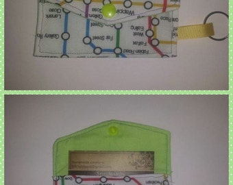 London Underground map green  business card holder wallet keyring