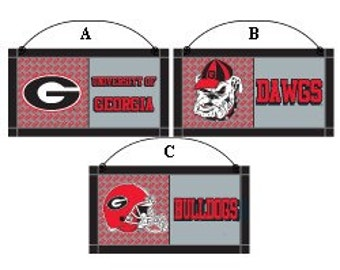 "7"" Georgia Bulldogs, Bulldogs Sign, UGA Sign, Wooden Sign, Collegiate Football Wreath Decor - HH82256"