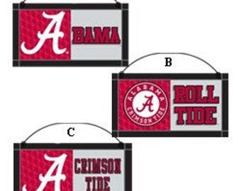 "7"" Alabama Crimson Tide, Bama, University of Alabama Sign, Wooden Sign, Collegiate Football Wreath Decor -"