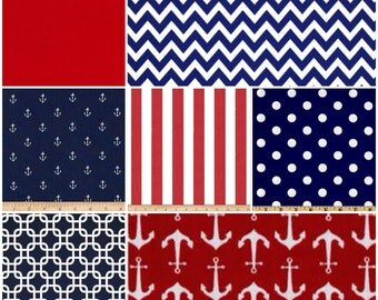 Custom Crib Bedding Set, Made to Order, Orange, Red and navy, nautical, anchors, modern, crib skirt, sheet, baby blanket