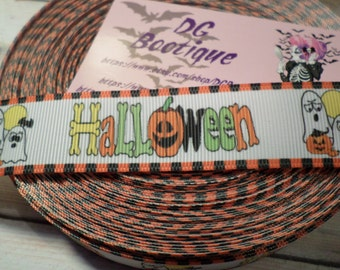 Halloween Grosgrain ribbon, Ghost Halloween ribbon, Pumpkin Grosgrain ribbon