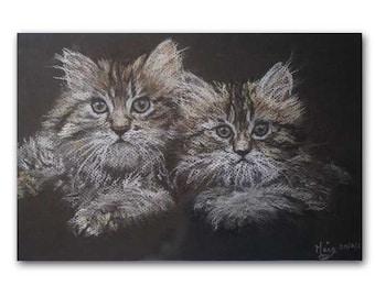 art   painting animal  cat  drawing original pastel
