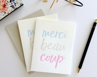 Merci Beaucoup Letterpress Thank You Card