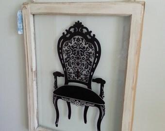 Shabby Chic, vintage white window frame, Victorian chair