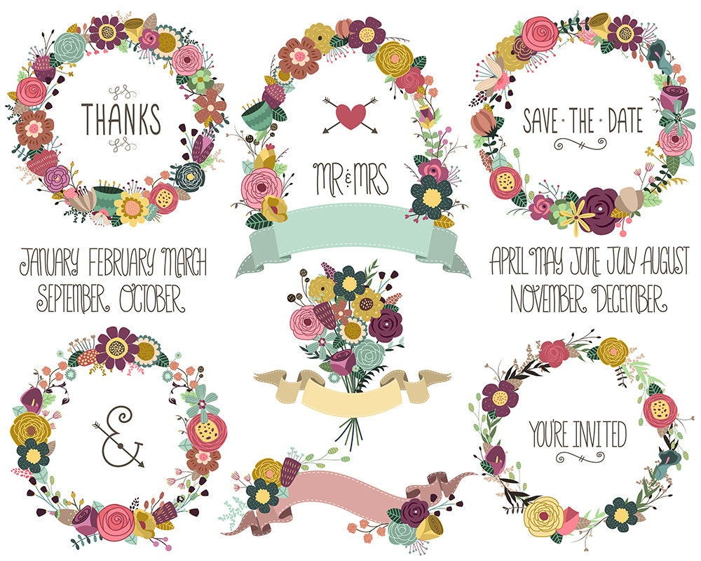 Wedding Celebration Invitation: Wedding / Celebration Invitation Floral Wreaths And Design