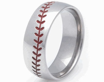 Titanium Baseball Ring- Red Stitching