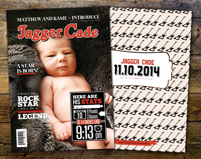 Rock Star magazine  theme birth announcement, baby boy, rockstar, baby shower, rock star party, rock n roll, pop star, hip hop