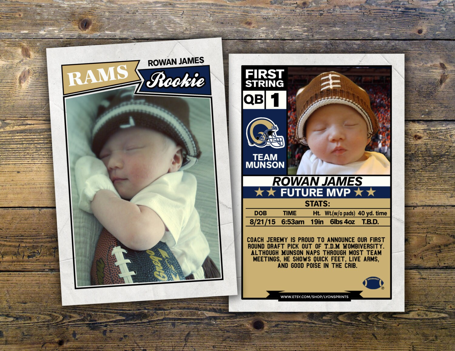 Football card baseball pregnancy announcement birth – Football Birth Announcements