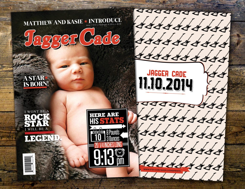 Rock Star magazine theme birth announcement baby boy rockstar – When to Send Birth Announcements