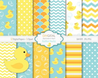 Rubber ducky Digital Paper Set- Rubber Ducky Clipart- 12 blue and yellow digital papers with bubbles, duckies, stripes, chevron- Baby Shower