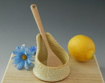 Spoon Rest, Kitchen Utensil, Stoneware, Wheel Thrown, Wooden Spoon Holder