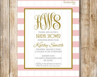 PINK MONOGRAM Bridal Shower Invitation, Blush White Stripes Shower Invite, Gold Monograms Hens Party, Bachelorette, DIY Printable Digital