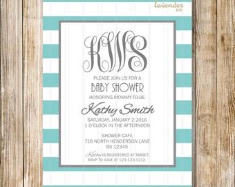 Blue GRAY MONOGRAM Baby Shower Invitation, Teal Grey Monograms It's A Boy Invite, Baby Boy, Gold Blue White Stripes, Diy Printable Digital