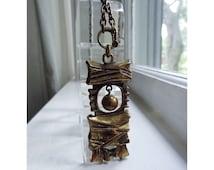 Pentti Sarpaneva Bronze Pendant Necklace - 1970s Modernist Jewelry - Made in Finland