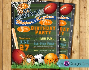 All Star Joint party Invitation / Sports combined Birthday party Invitation /  #K1048-J