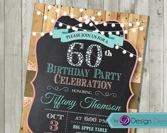 Women 60th Birthday Invitation. Country Chic style. Diamond, String light, Chalkboard. 30th 40th 50th 60th  any age. Printable. #A1051