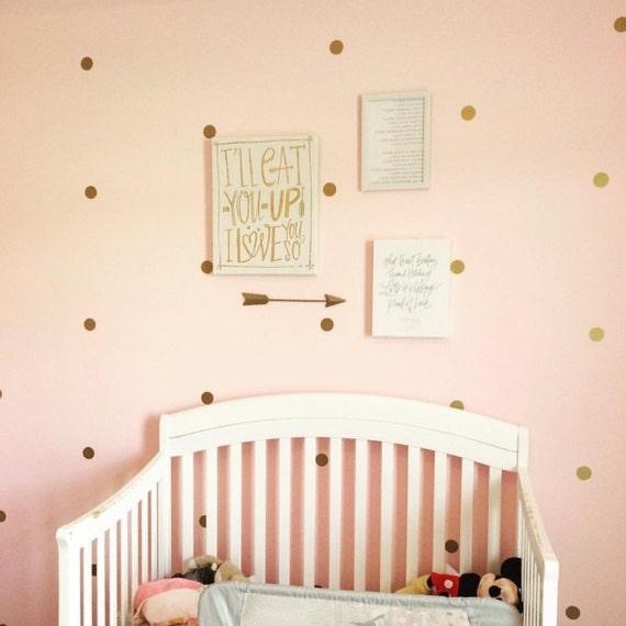 Gold polka dot wall decal nursery decor bedroom wall decals for Polka dot decorations for bedrooms