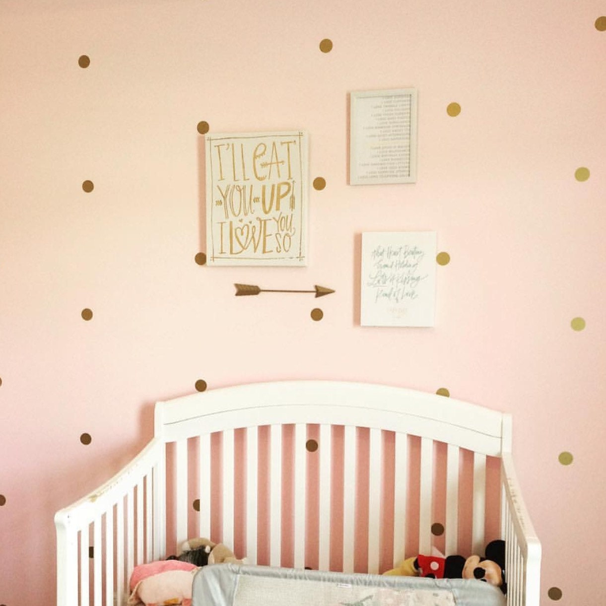 Gold polka dot wall decal nursery decor bedroom wall decals zoom amipublicfo Images