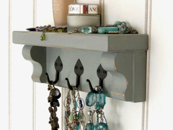 handmade wall shelf with black iron hooks duck by. Black Bedroom Furniture Sets. Home Design Ideas
