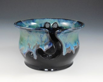 Pottery hand thrown yarn bowl in rich glossy black, green, cobalt blue and opal glazes