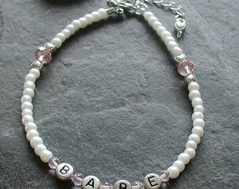 Pearl Glass Beads Pink Crystal Babe Anklet Choose Any Name Word