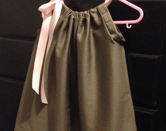 Gray Pillowcase Dress with Pink Ribbon (12-18 Months)