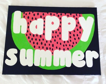 Happy Summer Watermelon Canvas // Ready to Ship!