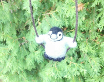 Penguin Necklace, needle felted adorable baby penguin