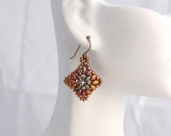 Superduo earrings- Crystal Violet Rainbow Diamond