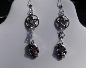 Pentagram and skull earring