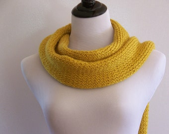 Extra Long Scarf, Yellow Knit Scarf, Winter Scarf Pattern, Warm Long Scarf, Downloadable Scarf Pattern