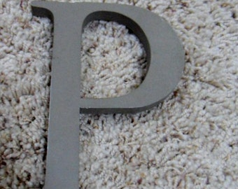 "Wood 6"" Letter ""P""  Industrial Architectural Salvage Wall Art   Painted Gray Grey"