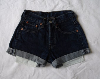High waisted shorts, vintage Levis 535 dark blue denim jean shorts, cut off cuffed pockets showing hotpants, waist 23 XX Small