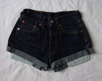 High waisted shorts, vintage Levis 501 dark blue denim jean shorts, cut off cuffed pockets showing hotpants, waist 24 XX small