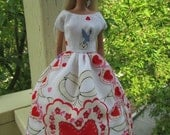 OOAK, hand sewn, Vintage Valentine hankie dress for Barbie or Similar Dolls.