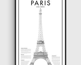 Minimal Paris Eifel Tower Poster, Black & White Minimal Print Poster, Art, Home Art, Minimal Graphics, Paris Poster