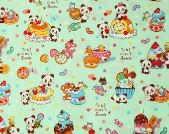 fat quarter, 1/2 meters / Japanese fabric / kawaii fabric / retro fabric / panda fabric / animal fabric / sweets fabric /
