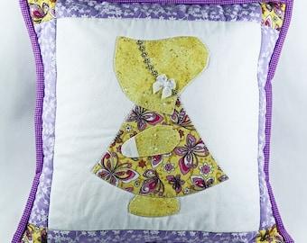 Girl Throw Pillow, Nursery Pillow, Purple Yellow, Decorator Pillow, Quilted Pillow Cover, Shabby Chic Pillow, 14 x 14 Pillow Sham