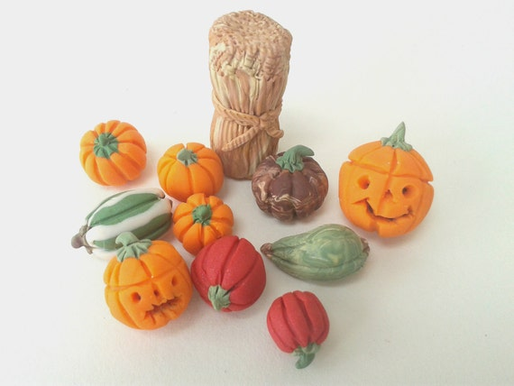 Decorating Ideas > Thanksgiving Decorations Miniature Pumpkins Polymer Clay ~ 070224_Thanksgiving Decorations On Etsy