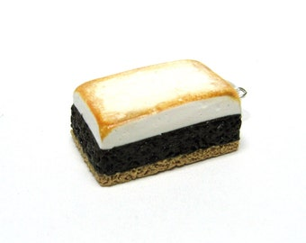 S'mores Brownie Charm, Miniature Food Jewelry, Polymer Clay