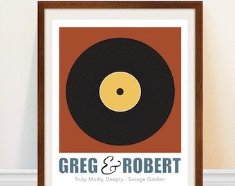 Gay Wedding Gift - Wedding Song Print - Vinyl Record Art Print - Personalized Song Art Print - Gay Marriage Gift
