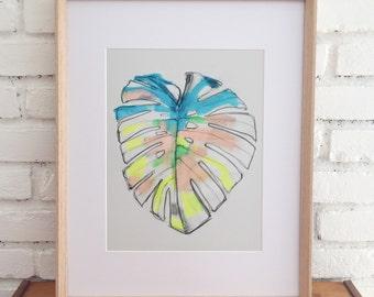 Print of neon tropical leaf. Monstera Deliciosa, Botanical Print Illustration, modern art, botanical drawing, tropical leaves, beach, peach