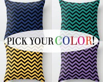 Chevron Cushion, Decorative Pillow, Decor Throw Pillow, Zig Zag Pillow, Blue Orange White Black Purple Yellow Green Red, 16x16 18x18 20x20