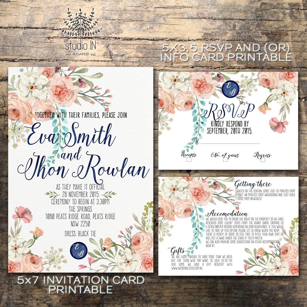 Floral Wedding Invitation Printable Wedding Invitation Rustic
