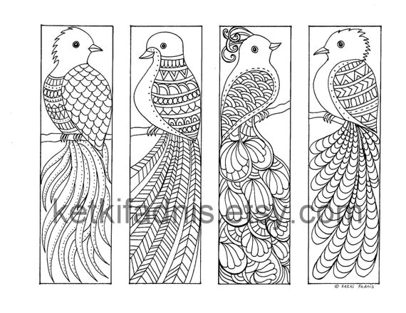 Coloring Bookmarks 12 Bookmarks to print and color Digital