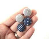 Handmade Fabric Button Earrings/Dallas Cowboy Earrings/Cowboys Earrings
