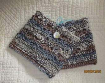 NEW Crochet Leg Warmers Boot Cuffs  , grays and browns, 15 in. inches round